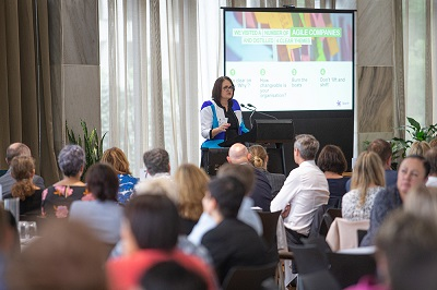 Jolie Hodson, CE Spark NZ presents at the Positive Workplace Cultures programme launch.