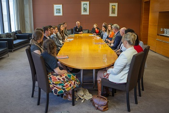 The interns sit down to discuss health and safety in New Zealand with Minister Ian Lees-Galloway.