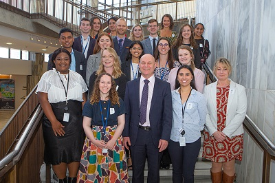 Ray Smith and the 2019 Heath and Safety Summer Interns at Parliament to meet the Minister for Workplace Relations and Safety.